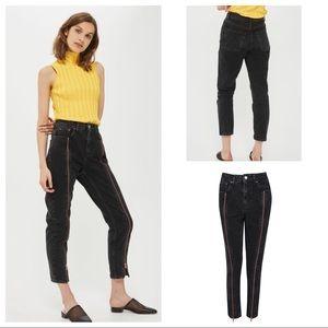 Topshop Moto Mom Exposed Zip High Rise Jeans Black